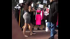 Candid Plump Phat Booty Latina in Stretch Skirt