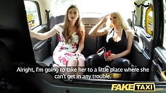 Fake Taxi Training the new female taxi driver on backseat