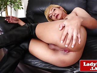 Preview 5 of Blond ladyboy beauty wanking cock solo