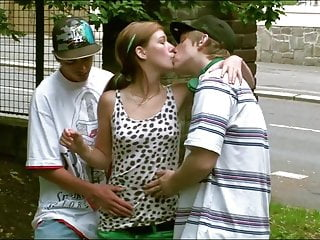 Cute teen Alexis Crystal PUBLIC street threesome gangbang