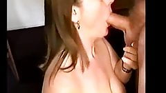 Sucking cock, getting a nice load on my face and tits