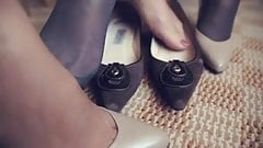 Sexy pantyhose feet close up