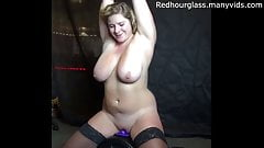 Blonde slut with massive tits rides sybian