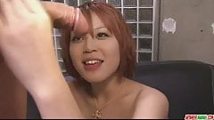 Filthy redhead Asian babe showing off her sexy ass and big t