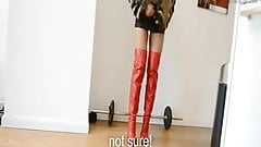 Leather &domination: Teased but do NOT cum thigh high boots