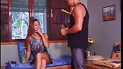 Hot tranny gets on her knees and gives a good blowjob then fucks