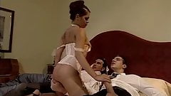 two guys and lingerie lady