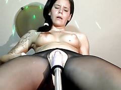 Black pantyhose fucking machine squirt