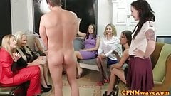 Femdom party group in mean cock treatment