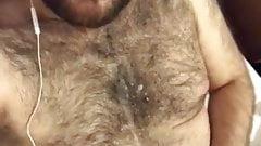 Cum over hairy chest