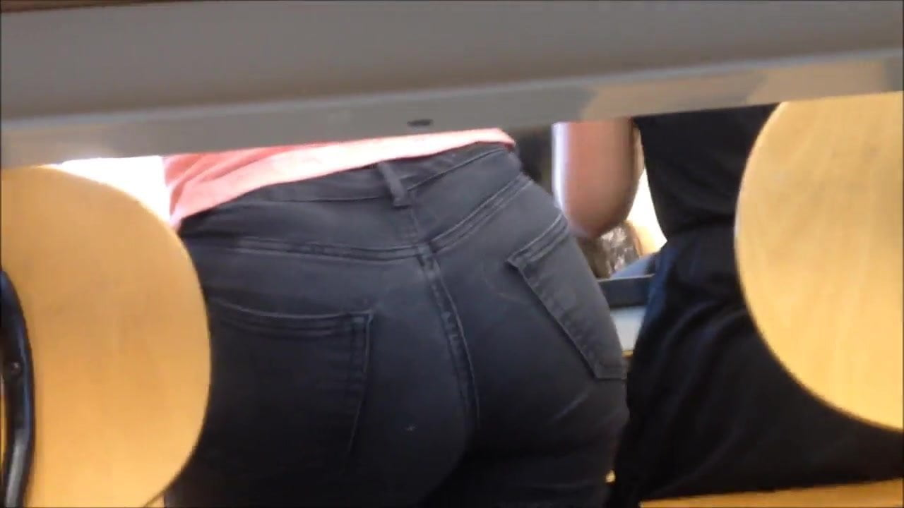Blonde classmate's hot ass in tight jeans