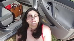 chubby milf mom sucks for a public facial