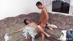 Busty brunette mature gets pounded on the couch