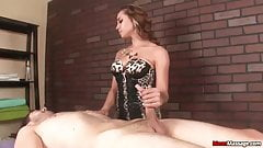 Bitchy brunette dominant handjob