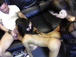 Hardcore Threesome With Busty Ebony Slut Femdom And Big Cock