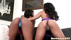 Bigbooty ebony rimming ass before riding cock