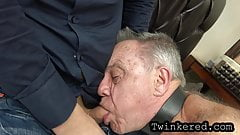 Old and young threesome. Abusing grandpa with bb dildo