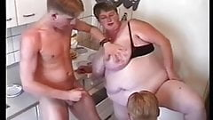 BBW Threesome #6 (FAT Granny & Two Young Guys)