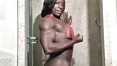 Ebony Muscular Woman in slingshot