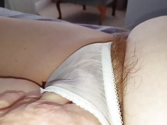 long pubic hairs sticking from see through pantys