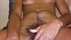 Hairy girl with small puff tits and large clit