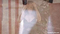 Kirsten Price shows off her body in tight black lingerie