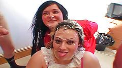 Fat British greedy girls real amateur bukkake party