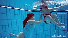 Dashka and Vesta underwater teens