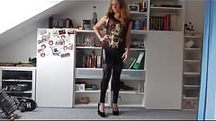 Teen bitch in wet laced leather leggings