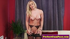 Busty british milf tugging dick for facial