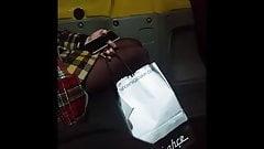 Black pantyhose girl in bus