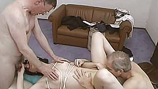Naughty amateur girlfriend homemade threesome with cumshots