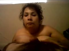 Huge tits Mexican sucking my dick while fingering herself