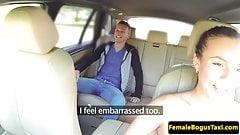 Public euro cabbie cockriding on backseat