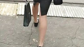An ass in a leather skirt