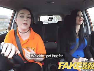 Fake Driving School Busty Lesbian Ex Con Eats Hot Examiners