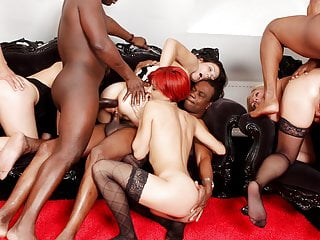 4 big black dicks in 4 tight white assholes