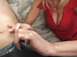 Sweet blonde milf with lovely tits sucks and fucks on couch