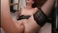 Redhead mature deep fisted by her girlfriend
