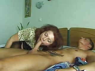 Granny in Stockings Fucks a Boy
