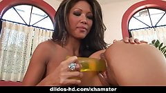 Teanna Kai and Mya Luanna play with huge dildo