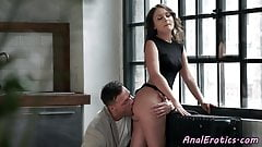 Assfucked babe enjoys dick in both holes