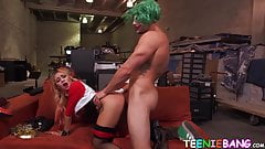 Lascivious teen pussy filled with thug clown big cock