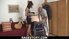 Brunette takes brutal blowjob and rough fucking