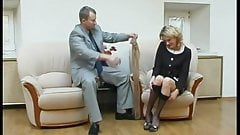 Pantyhose stuffed in pantyhosed pussy and fuck