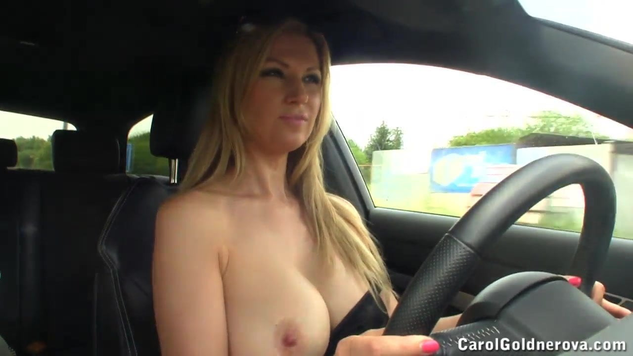 Milf driving topless