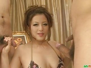 Great asian blowjobs for three guys from Meisa Hanai
