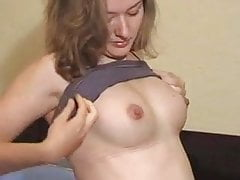 Pregnant Girl Stripping and Spreading pussy
