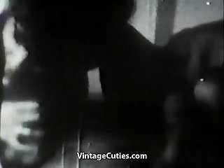 Preview 6 of Two Hot Girls Teasing a Man (1950s Vintage)