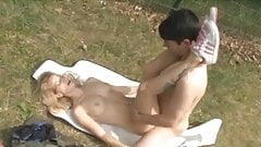 Blonde german MILF outdoor sex